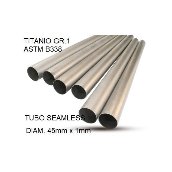 TUBO TITANIO SEAMLESS GR.1 DIAM 45MM X 1MM BARRA DA UN METRO LINEARE