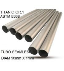 TUBO TITANIO SEAMLESS GR.1 DIAM 50MM X 1MM BARRA DA UN METRO LINEARE