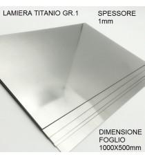 LAMIERA TITANIO GR.1 FOGLIO 1000mm X 500mm SPESSORE 1mm