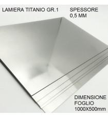 LAMIERA TITANIO GR.1 FOGLIO 1000mm X 500mm SPESSORE 0,5 mm