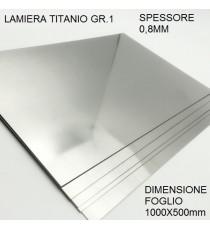 LAMIERA TITANIO GR.1 FOGLIO 1000mm X 500mm SPESSORE 0,8 mm