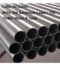 TUBO ACCIAO INOX 304 DIAM 30mm X 1mm BARRA DA UN METRO LINEARE