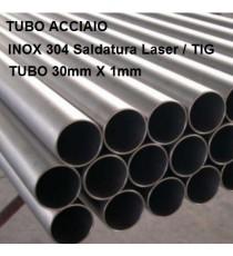 TUBO ACCIAIO INOX 304 DIAM 30mm X 1mm BARRA DA UN METRO LINEARE