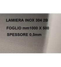 LAMIERA ACCIAIO INOX 304 SATINATO 2B FOGLIO PANNELLO 1000mm X 500mm SPESSORE 0,5mm
