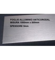 LAMIERA ALLUMINIO ANTICORODAL PANNELLO 1000mm X 500mm SPESSORE 5mm