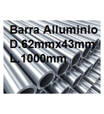 BARRA TUBO ALLUMINIO ANTICORODAL DIAMETRO 62MM X 43MM L.1000MM